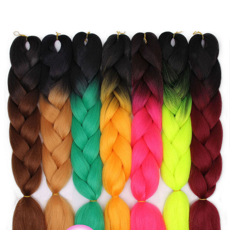 Free sample 24 inch Synthetic Jumbo Braiding Hair Long Braiding Hair pieces Ombre Crochet Braid Hair Extensions for black Women