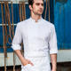 Checkedout uniform three quarter sleeves 100% cotton chef jacket