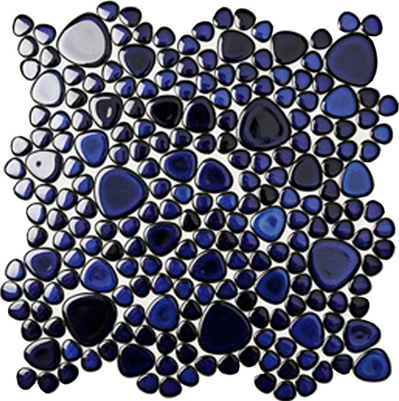 Room Decoration Pebble Shape Blue Mini Round Irregular Mosaic Tile Art Glazed Mosaic Wall Tiles for Kitchen Floor Project