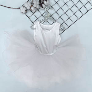 KAPU cotton classical leotard dance ballet dress sleeveless kids girls tutu skirt
