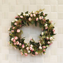 A-921 Custom 40cm Artificial Floral Rose Garland Wreath Round Decorative Plastic Spring Flowers Wreaths For Front Door Signs