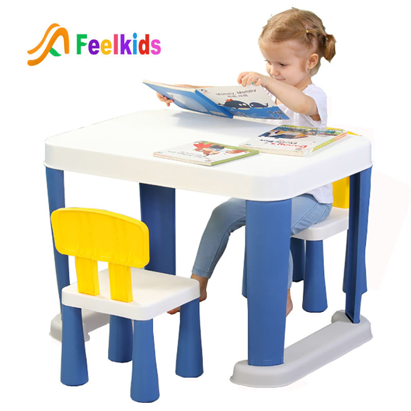 Hot sell wholesale plastic rectangle folding study desk furniture sets play children table and chair for kindergarten kids use