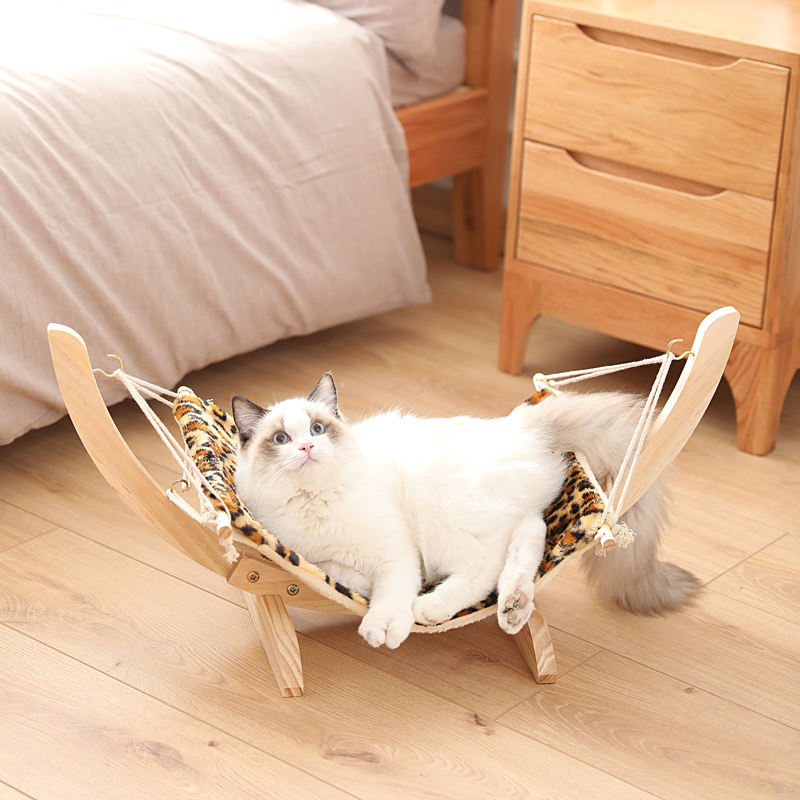 Luxury cat hammock Pet Cots Wooden Frame Square Hanging Cat Sofa Sleeping bed for Small Animals Detachable