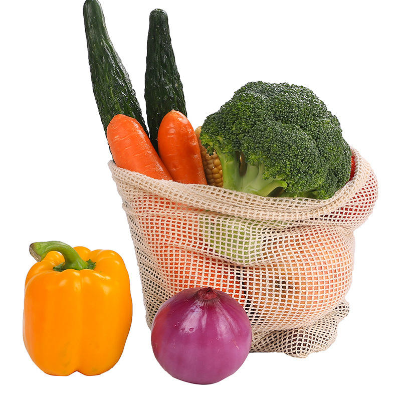 Reusable cotton mesh shopping tote, cotton mesh bag for vegetables and fruits fruit grocery packing string net shopping bag