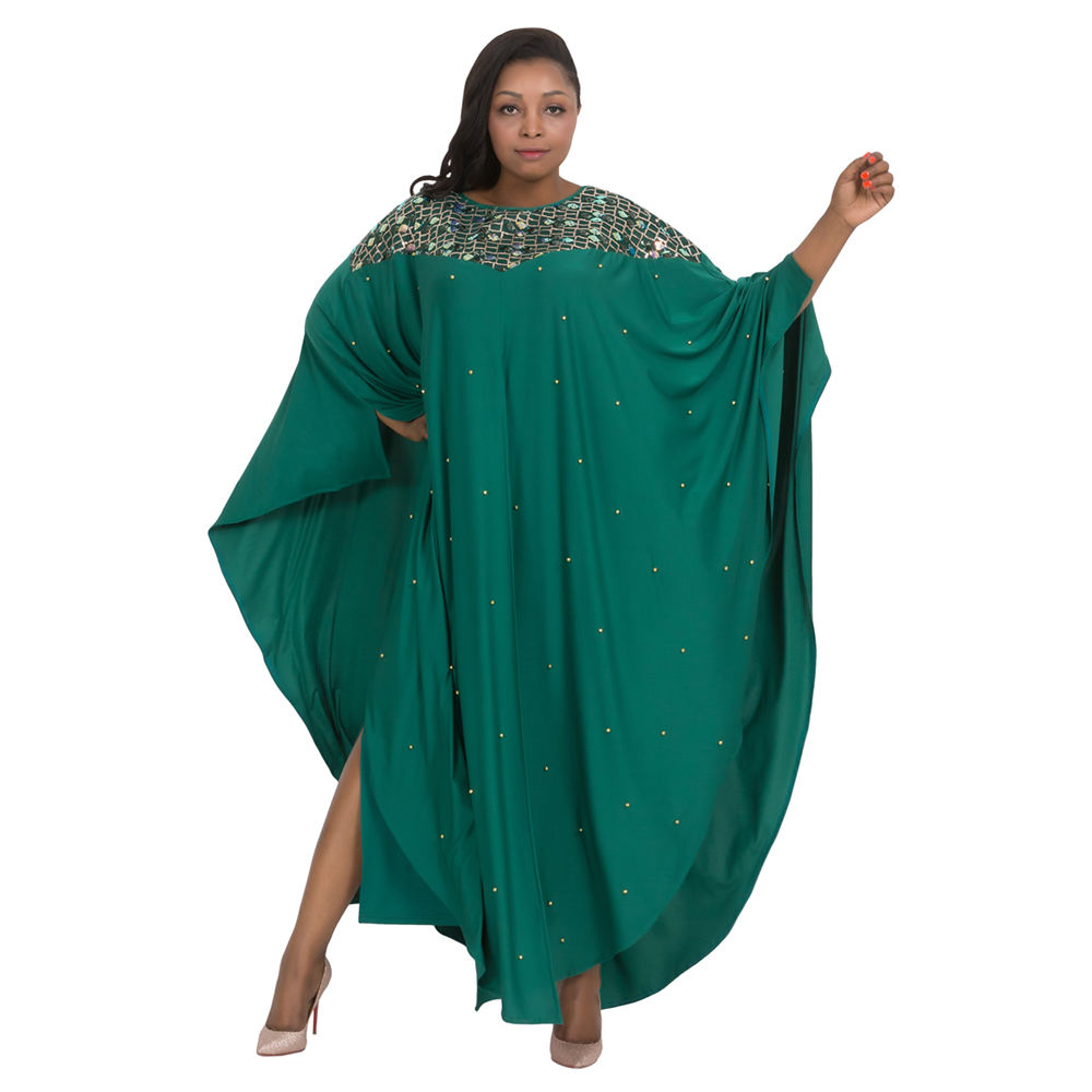 Women Africa Batwing Burqa Kaftan Robe Plus Size Maxi Dress Bead Loose Abaya Sequins Boubou