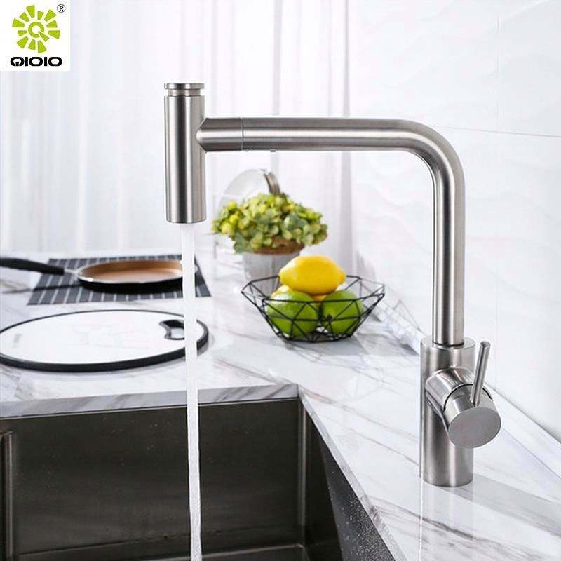 Kaiping Stainless steel 304 brushed sink single hole pull out down push two modes one handle kitchen faucet mixer