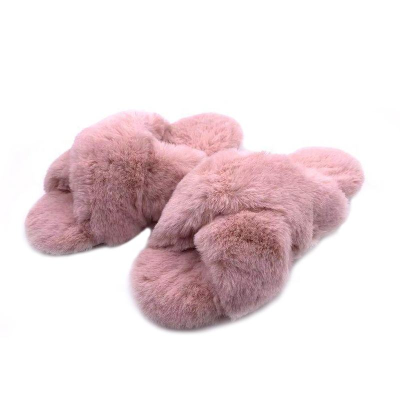 Fashion Warm Faux Fur Pink Fluffy Winter Plush Fuzzy Indoor Home Slippers for Women
