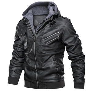 Wholesale Custom Men Faux Leather Coats Airforce Bomber Jackets With Removeable Hood Jaquetas masculinas