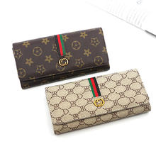 New European and American brand wallet women's long style simple multi-functional buckle soft leather women wallet