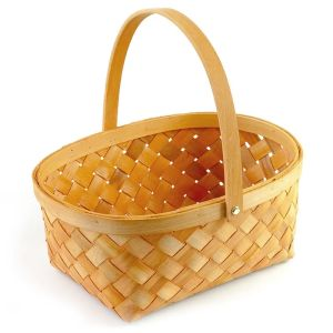 Handmade hamper wood chip gift storage basket baby gift packing basket with handle