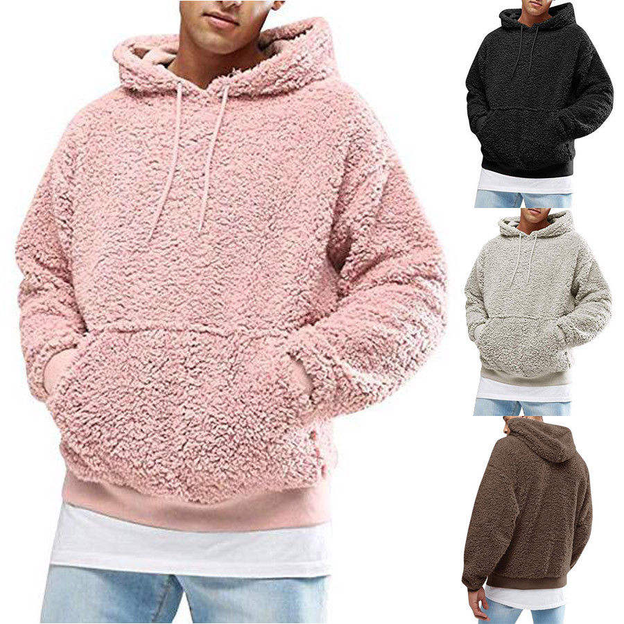 Quality Warm Fluffy Sweater Top Hoodie Sweaters Men Male Hooded Sherpa Hoodie