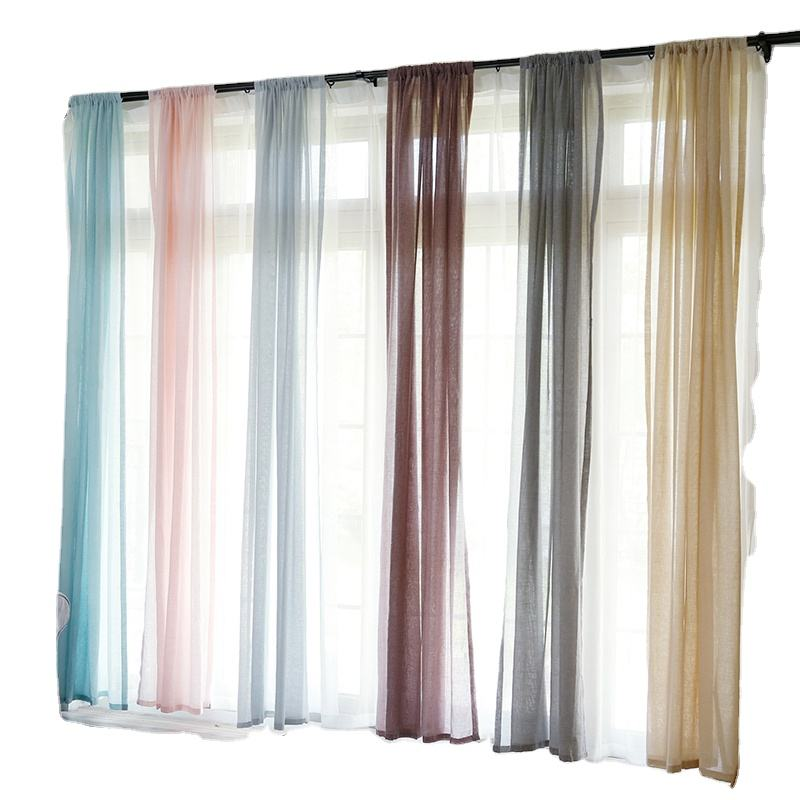 2020 Amazon hot sales Plain Sheer Curtains 84 Inch Length Living Room Voile Sheer Curtains