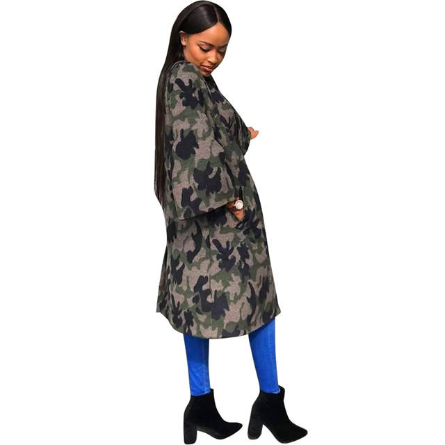 S1170 newest women clothing camouflage printed long cloak jacket for ladies
