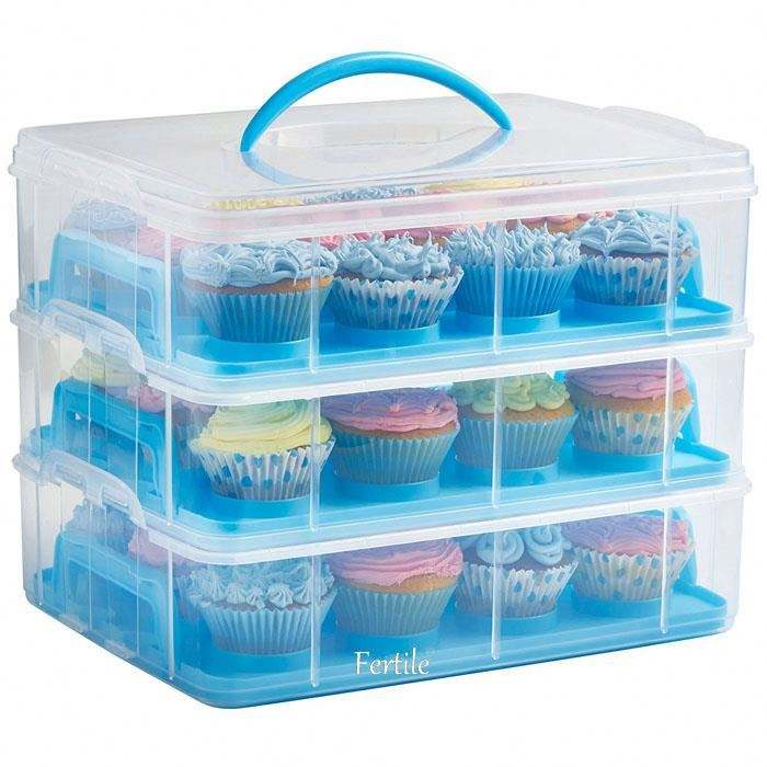 SJ 136985 3 Tiers Cupcake Storage Carrier/Cupcake Holder/Cupcake Container-Store up to 36 cupcakes or 3 large cakes