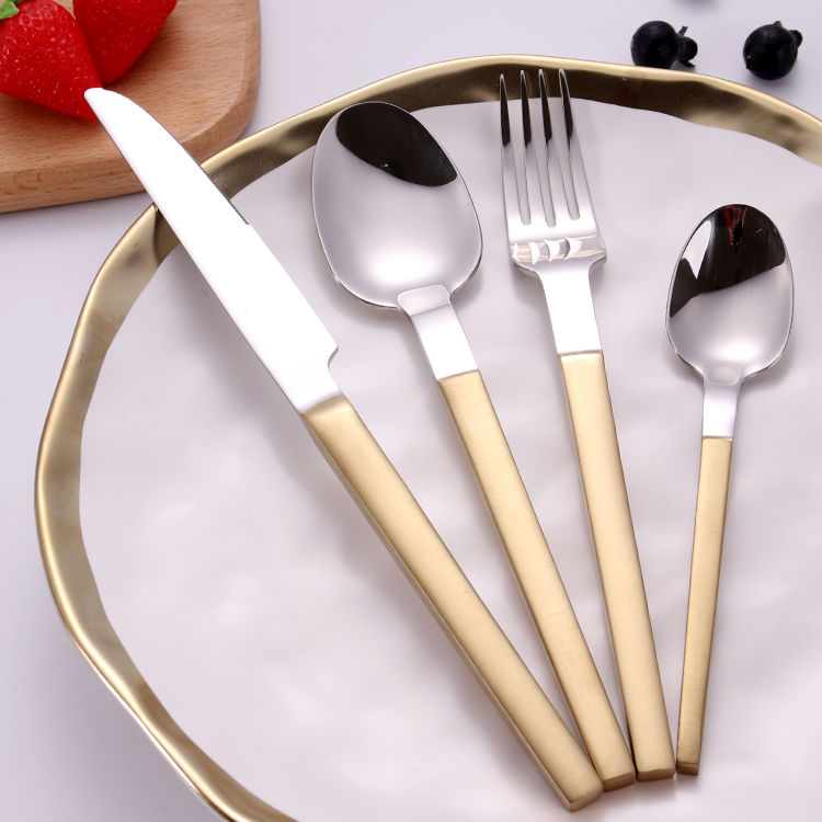 Spoon And Fork Stainless Steel Restaurant Pvd Coating Reusable Cutlery Set