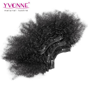 Yvonne Hot selling brazilian virgin hair afro kinky curl 100% human hair clip in hair extension