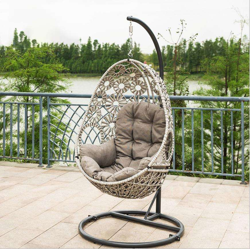 Outdoor Double/Single Seat Pink Black Bag Green Garden Furniture Rattan Patio Swings Hanging Egg Chair with Stand