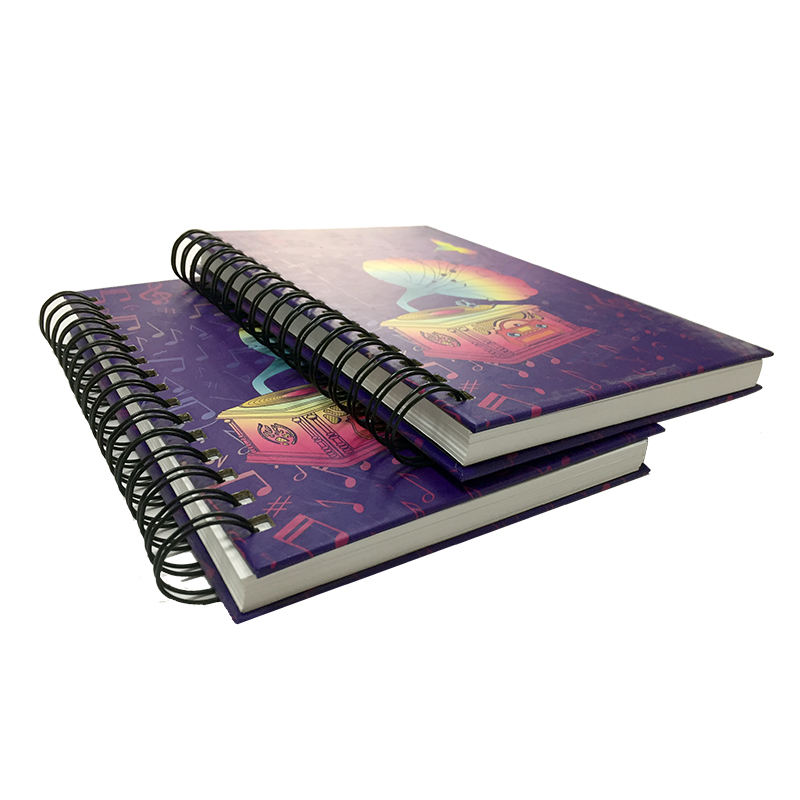 New custom printing spiral with color pages cute erasable notebook