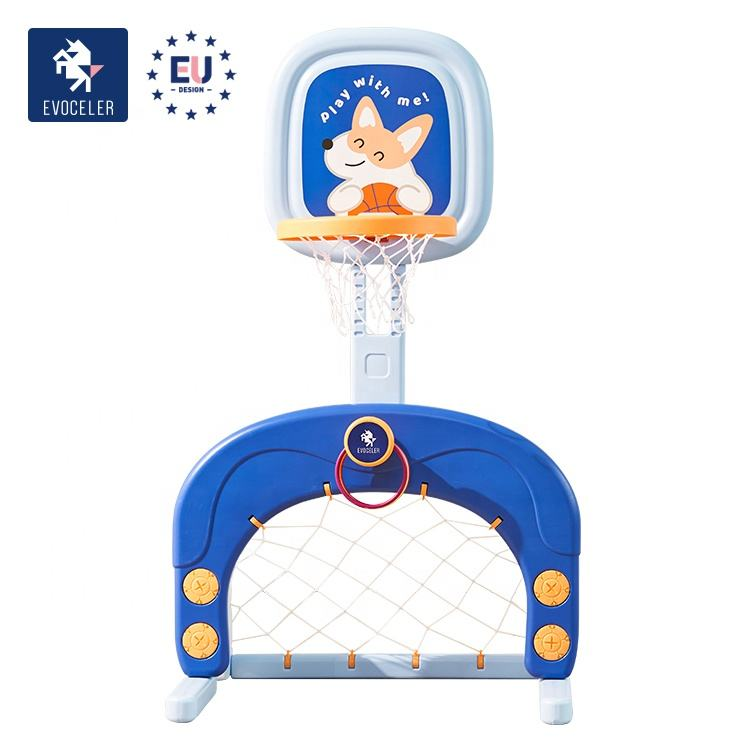 EVOCELER 1-8 Years Corgi IP Kids basketball hoops Stable Mini Adjustable Indoor Sports Toy Basketball Hoop For Toddlers