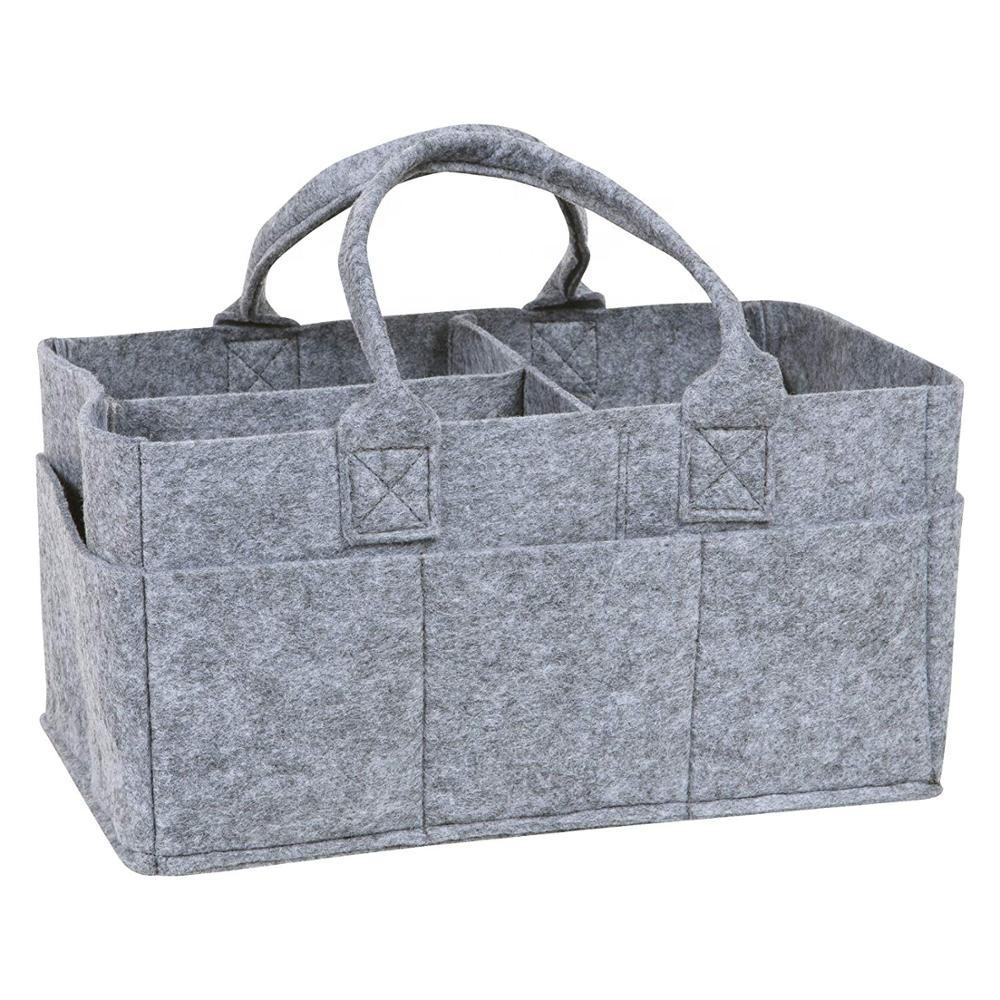 Large Baby Felt Fabric Organizer Diaper Bag , stylish gray felt diaper caddy