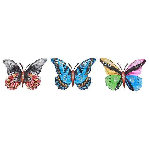 3 Pack Metal Butterfly Wall Art 3D Inspirational Wall Decor Sculpture Hanging for Indoor Outdoor Home Bedroom Living Room