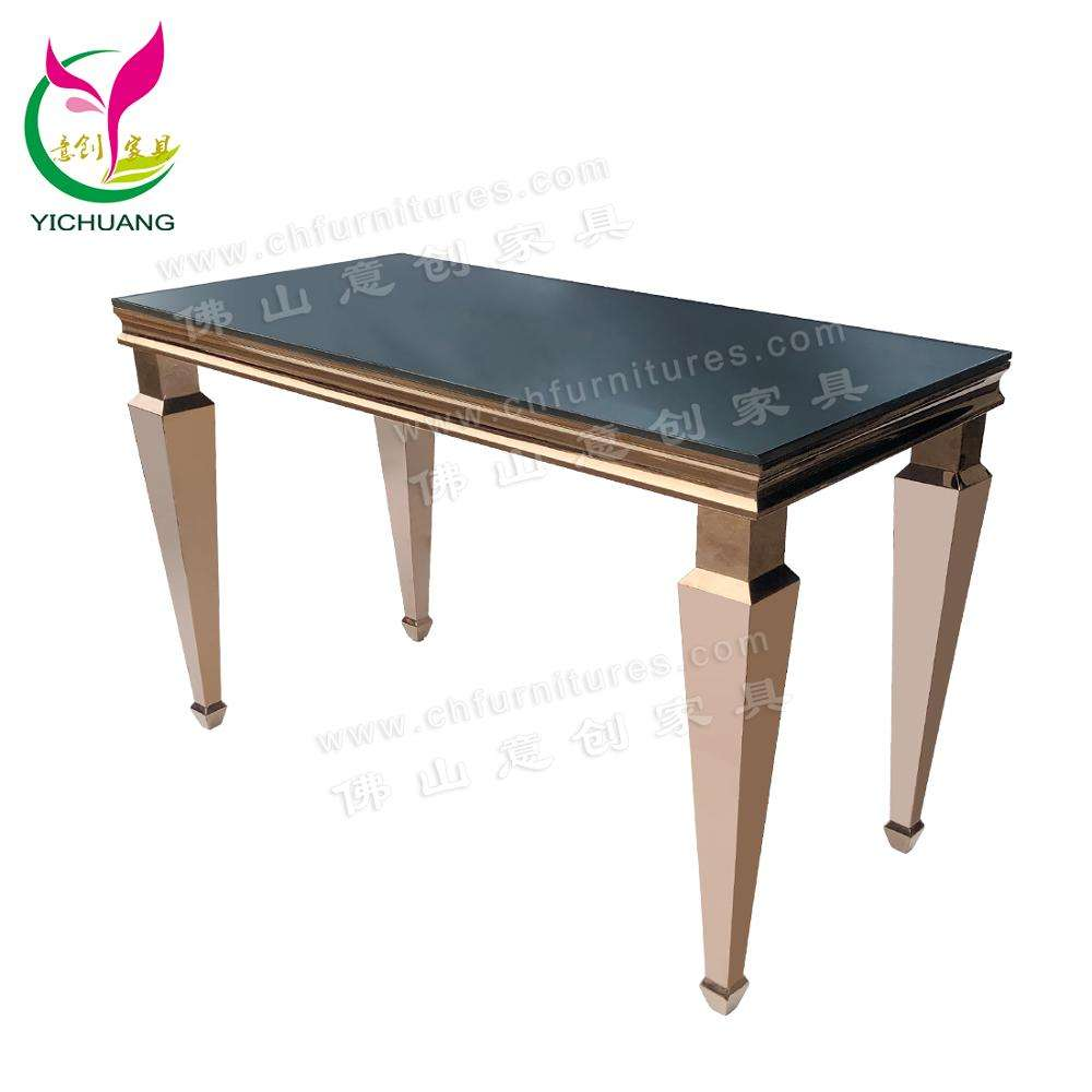 Wholesale Modern Rose Gold Stainless Steel Dining Table for Wedding and Catering