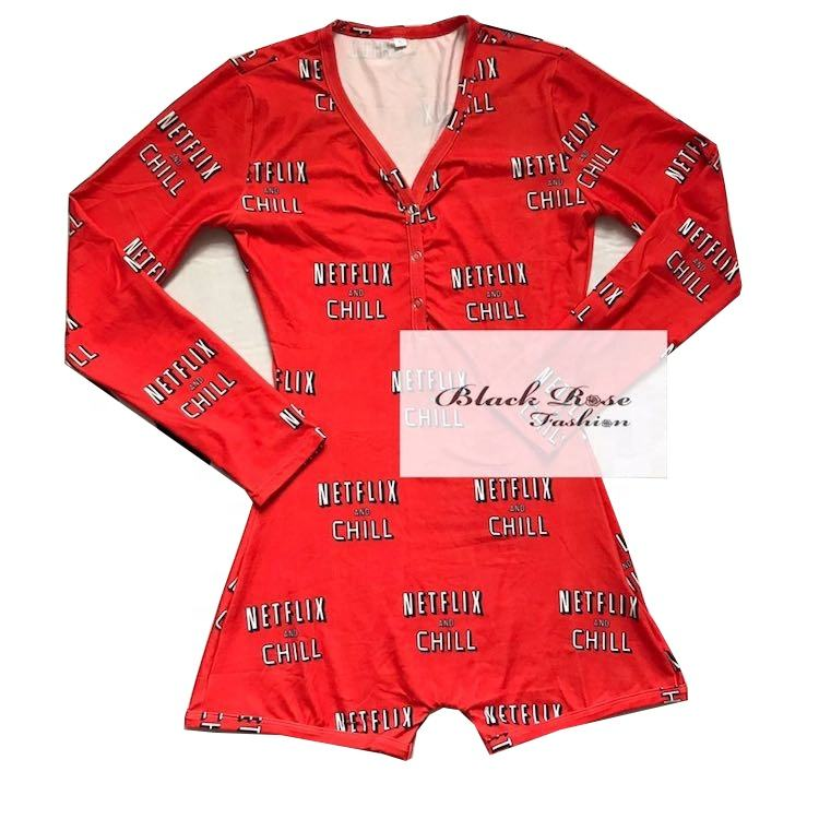Black Rose Fashion 2020 Summer Custom women sexy onesie Netflix and chill short sleeve onsie adult onesie for women