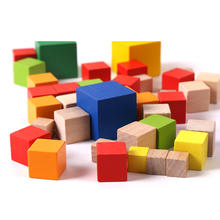 2021 natural 1mm-8mm DIY wood block kids square cube building blocks