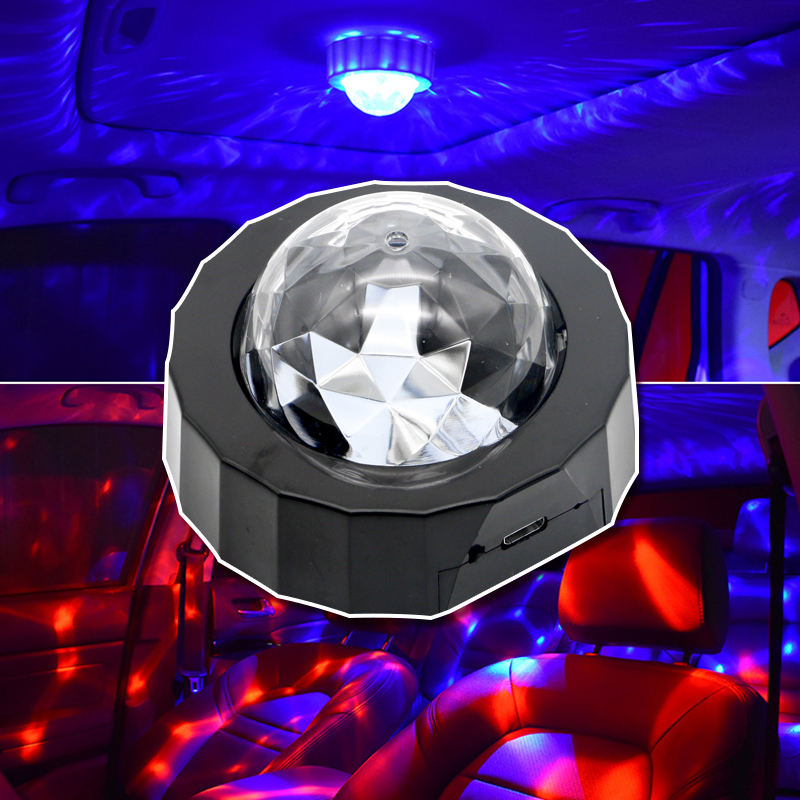 D36 Mini USB charging Magnetic suction round portable LED decoration at night active atmosphere projection night light for car