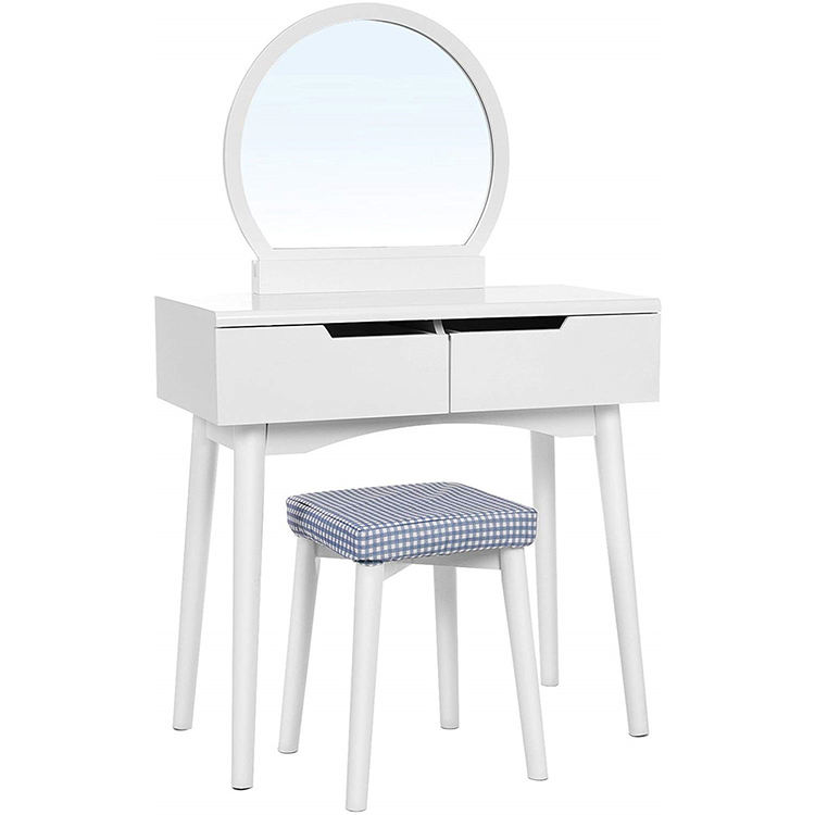 Wood Girls Round Mirrored Dressing Table With Sliding Rails Large Drawers Set Dresser