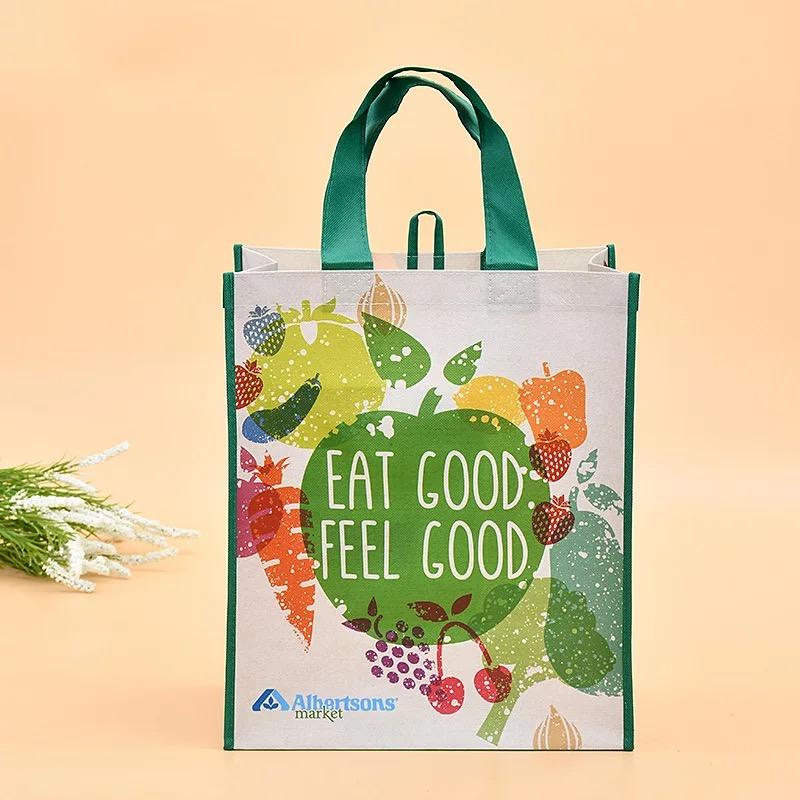 Custom Recyclable custom non woven laminated pouch cheap custom printing grocery tote carrier bag non woven