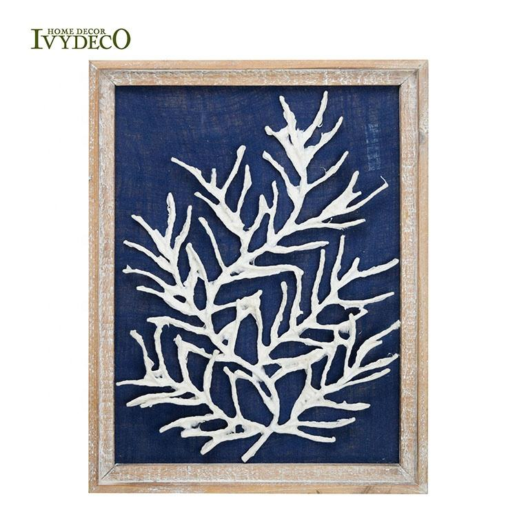 IVYDECO Modern Wood Framed 3D Handmade Paper Metal Tree Wall Art For Home Decor Wall