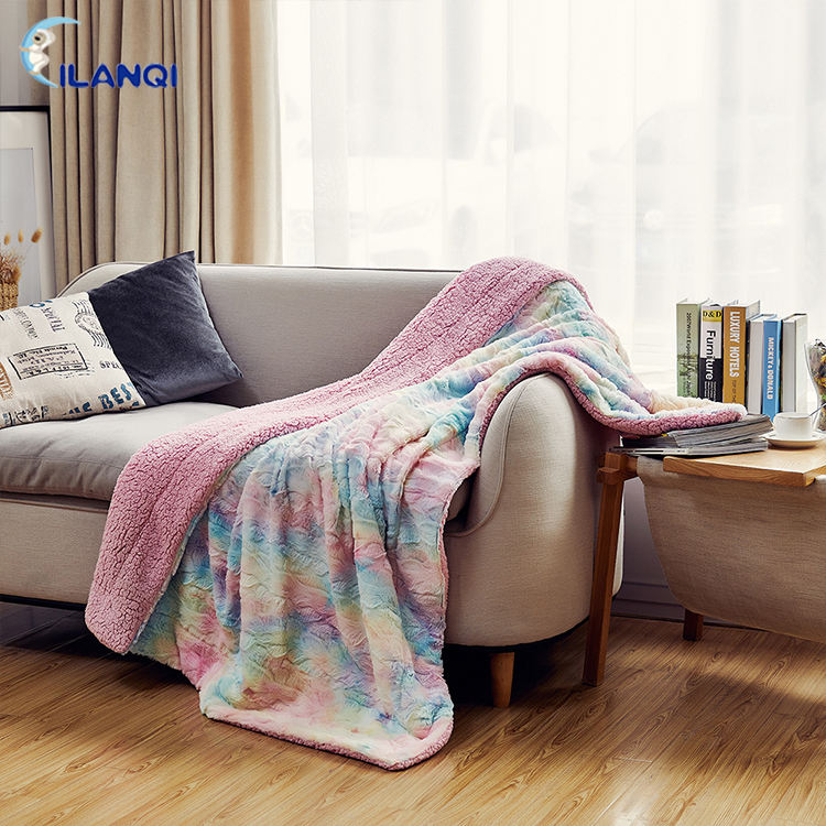 Wholesale Colorful Soft Travel Warm Tie Dye Plush Sherpa Fleece Thick Throw Blanket For Home