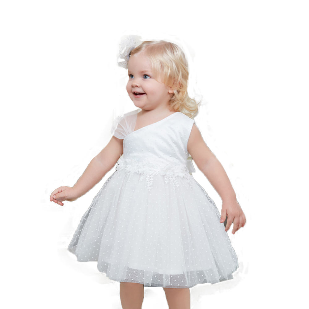 Wholesale summer baby girls shoulder gauze princess party dresses fluffy white children dress for 1 to 3 years