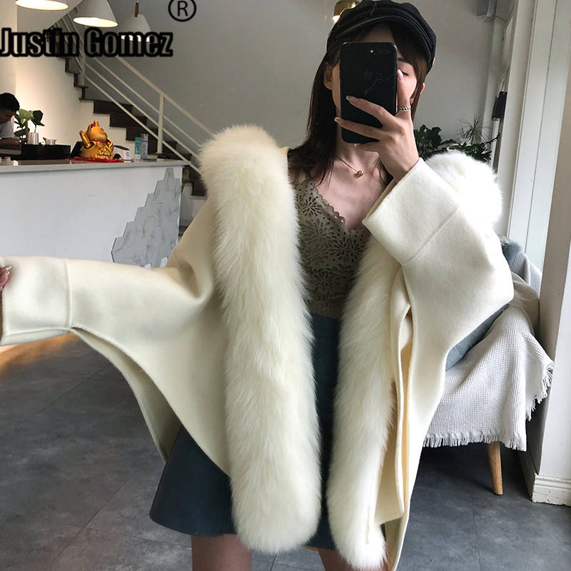 Women's Real Fur Poncho Genuine Fox Fur Collar Trim & Wool Cape Fashion Style Winter Warm Coat