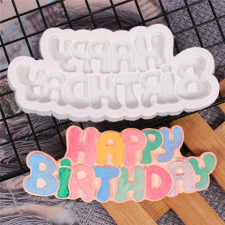 Happy Birthday Boy Girl Cake Mold Baking Pastry Chocolate Candy Jelly Birthday Cake Decorative Silicone Molds Baking Accessories