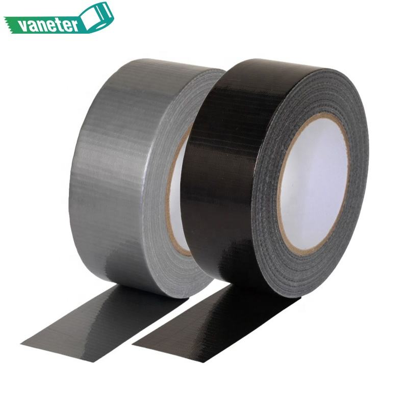 Commercial Grade Strength Rubber Adhesive Silver / Black Cloth Duct Tape ,Tear by Hand Design