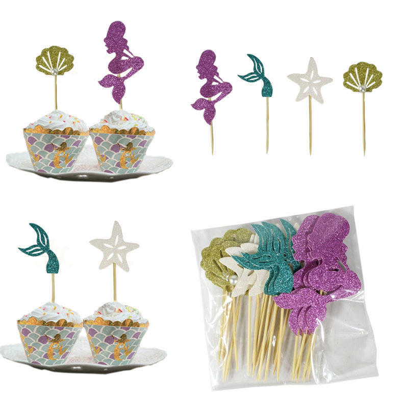 Party Decoration Mermaid Theme Cupcake Toppers Cake Picks Mermaid Seashell and Starfish Cake Topper