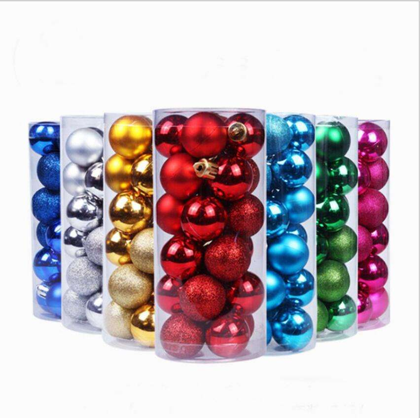 Wholesale barrel colored balls plastic plated balls shatterproof Christmas tree decorations ball ornament