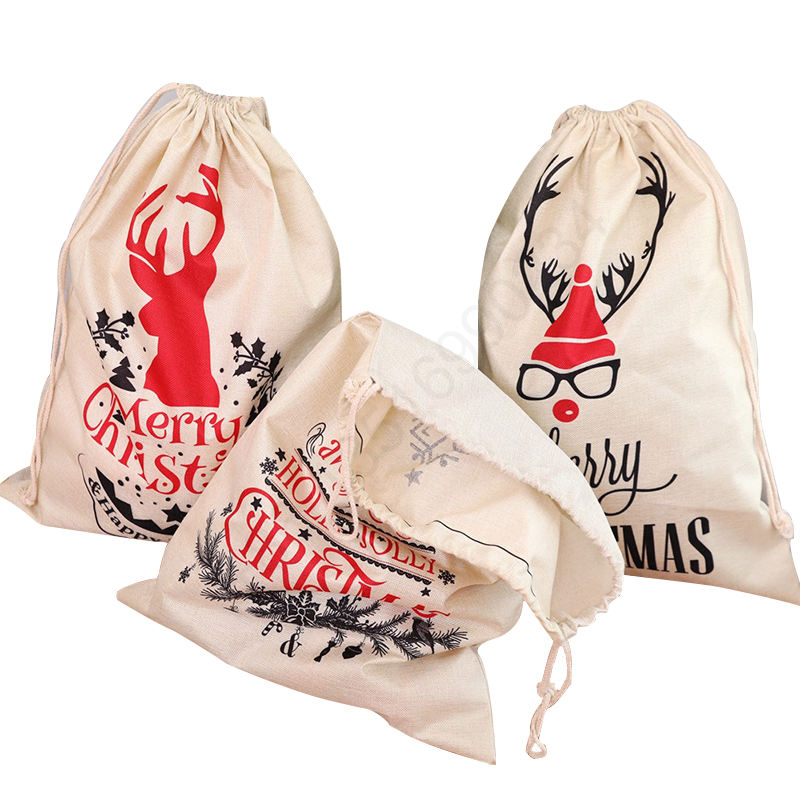 Custom promotion gift bag linen fiber drawstring bag Christmas Apple candy bag for Christmas