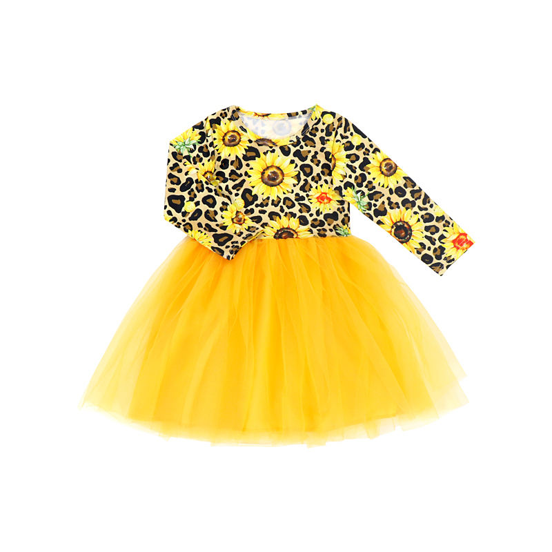 BQA-275 ruffle long sleeve leopard print tulle party dress for children girls princess girls' dress