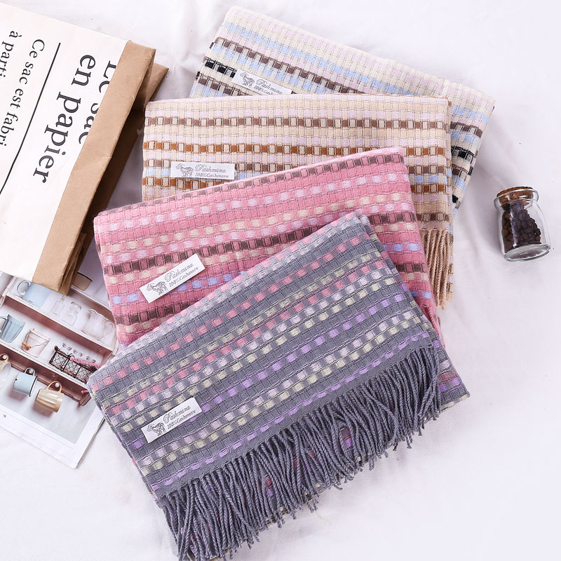 Wholesale 2020 Newest Japanese Literary Autumn Winter Warm Woven Fringed Scarf Girls Colorful Plaid Acrylic Scarves