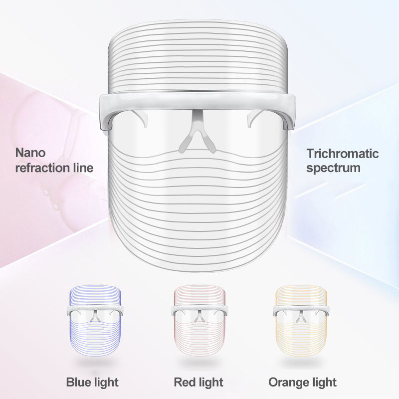Rechargeable Skin Care Wrinkle Acne Treatment 3 Color Led Mask Wireless Led Facial Mask Therapy Led Beauty Mask