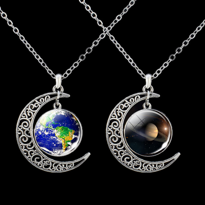 Planet Necklace Solar System Earth Saturn Jupter Glass Cabochon Pendant Outer Space Astronomy Jewelry