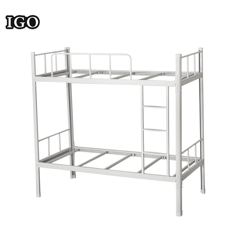 Wholesale Strong Detachable White Double layer Iron Bed Metal Bed Double Bunk Bed