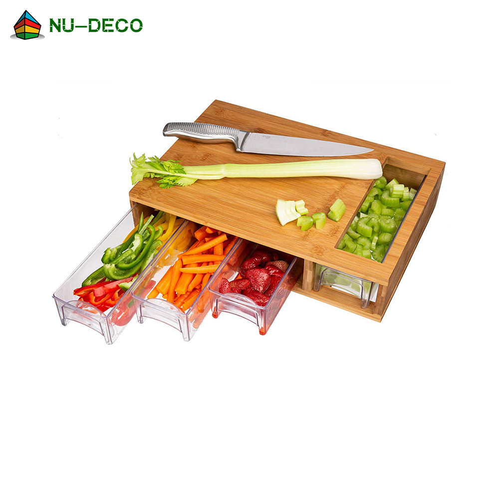 Wholesale large vegetable meat organic custom kitchen wood bamboo cutting board with tray drawer container