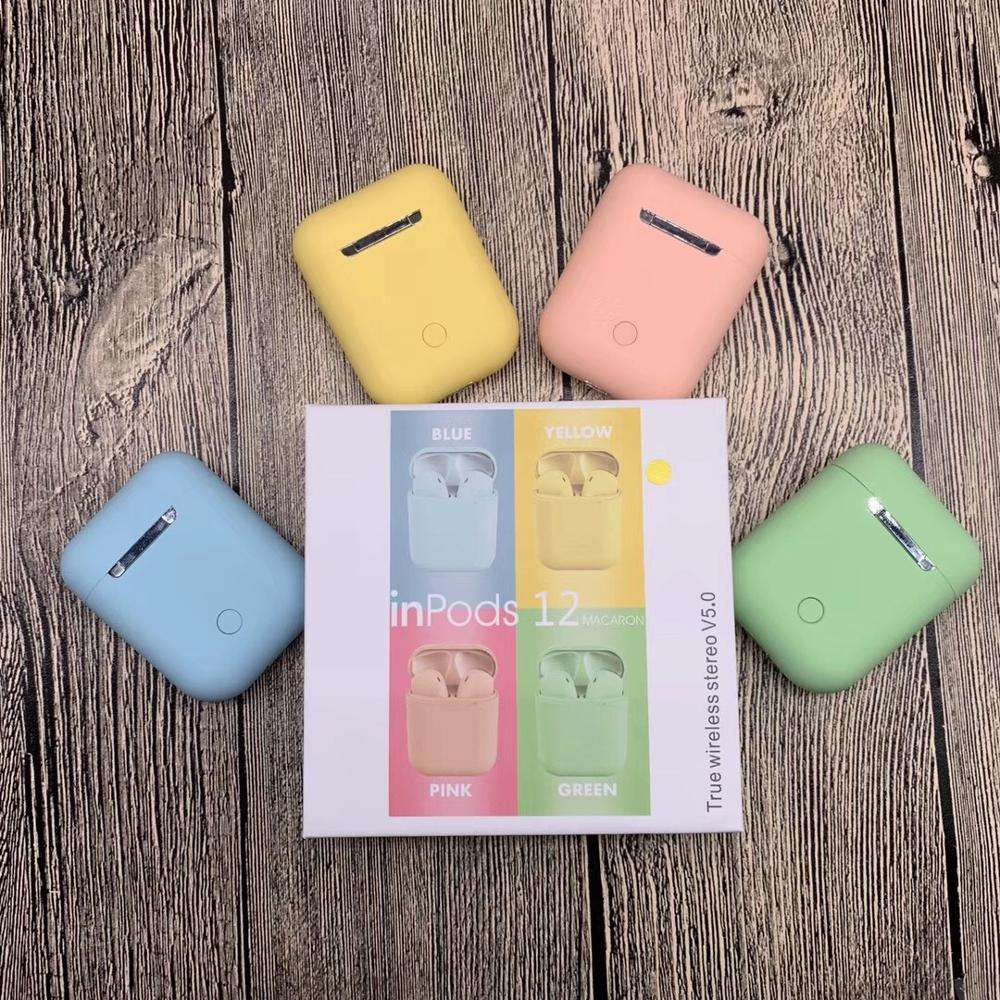 Dropshipping colorful true wireless inpods i12 earbuds bluetooth TWS i12 wireless headphones