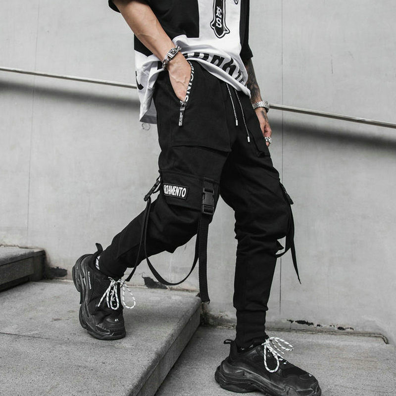 Men Cotton Casual Hip Hop Mens Sweatpants Harem Cargo Jogger Pants