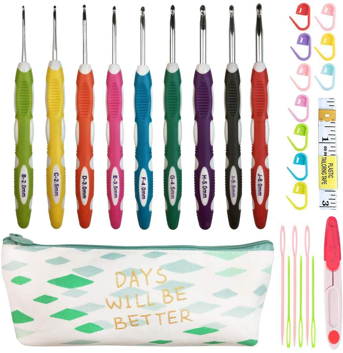 Latest Set of 27 PCS Ergonomic Handles Crochet Hooks Set with Case