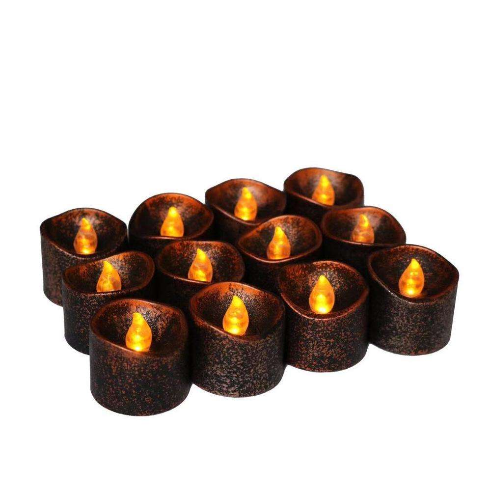 Halloween Hot sale Black bottom yellow flash LED candle light for Home Decor,Church,Christmas
